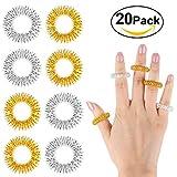 Anillos de masaje, Yosemy 20pcs acupresión masaje anillos dedo anillo de energía(plata + oro),Ayuda a aliviar la tensión y el estrés, para Relajación de Fatiga en Casa