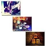 Piy Painting Musikinstrument Cooles Schlagzeug und Bass Gitarre Wandbilder Bilder und Kunstdrucke auf Leinwand Leinwandbild Ölgemälde Home Deko für Wohnzimmer Schlafimmer Küche 30x40 cm 3Set