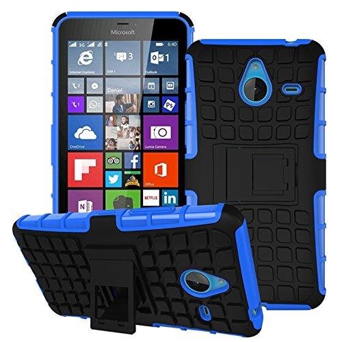 Owbb Hülle für Microsoft Lumia 640 XL Dual-SIM Handyhülle Hartes Silikon PC + TPU Hybrid Combo Zweilagig Case mit Schroff Function Ausklappbarer Ständer Design Reifenmuster Blau