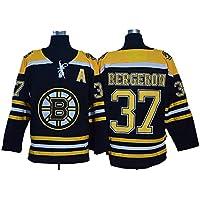 XIAOYU Patrice Bergeron # 37 de la Manga de Boston Bruins Hockey sobre Hielo NHL Jerseys con Capucha de los Hombres Respirables de la Camiseta Larga, Negro, Damas,XL