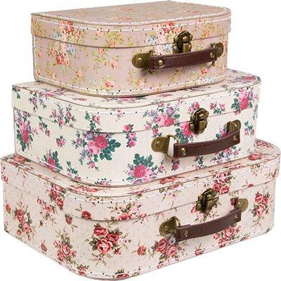 Sass & Belle Set di 3 valigie per conservare oggetti, stile: vintage, colore: Rosa