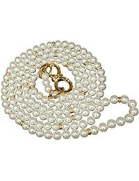 Le Premium® Shiny White imitiert Perlen-lange Strand mit Fancy Einstellbare Bogen Knoten Schnallen und Kristalle