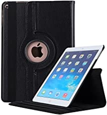 Robustrion Smart 360 Degree Rotating Stand Case Cover For New iPad 9.7 inch 2018/2017 5th 6th Generation Model A1822 A1823 A1893 A1954 & ipad Air 2013 A1474 A1475 A1476 A1566 A1567 - Black