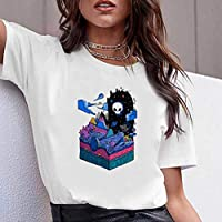 LuoMei Camiseta Estampada Blanca Jersey de Manga Corta con Cuello en o para Mujer Camiseta Estampada en Algodón Camisa con Fondo Camiseta de Verano para MujerComo se muestra, m