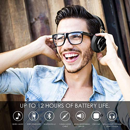 Bluetooth Kopfhörer Noise Cancelling – HiFi Stereo Drahtlose Headset Over Ear mit Mikro Lautstärkeregler für Alle Geräte mit Bluetooth oder 3,5 mm Klinkenstecker - 6