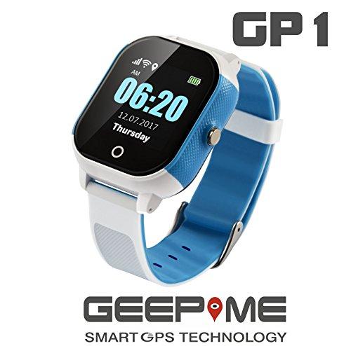 GeepMe GP1 Smartwatch (weiß-blau)-GPS Kinderuhr, wasserdicht(IP67), Tracking, GeoFence, SOS Notruf, Telefon, dt. kostenlose APP/dt. Service,Sicherheit für Ihre Kinder, (OHNE Abhörfunktion) Gp1 Gps