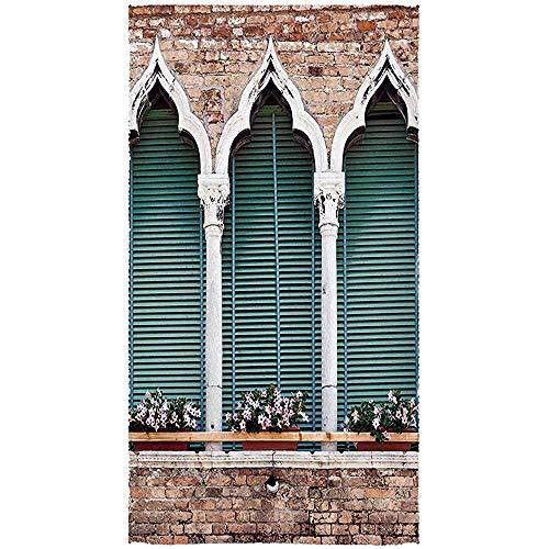 bk creativity asciugamani,asciugamano da bagno pratico di venezia, tradizionale stile gotico antico windows con vasi di fiori sul muro di mattoni per lo sport atletico