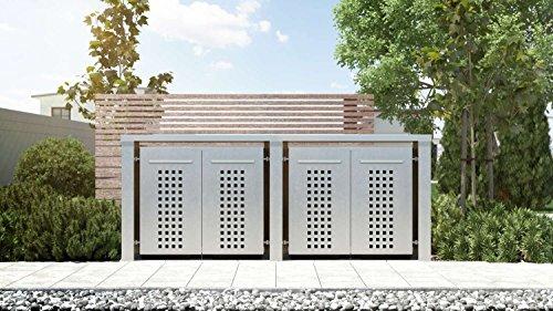 Mülltonnenbox Flachdach 4x12 Design Edelstahl 240 Liter 4 Mülltonnen