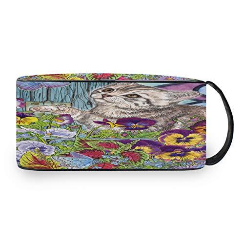 QMIN Tragbare Kulturtasche Kitty Schmetterling Tier Stiefmütterchen Blume Kulturbeutel Reise Multifunktionale Kosmetiktasche Make-up Tasche Aufbewahrung Tasche für Jungen Mädchen Frauen Männer -