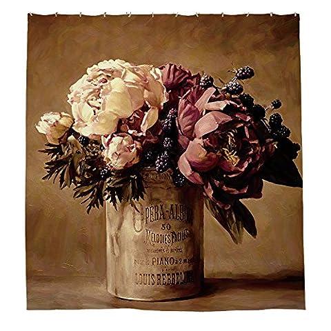 whiangfsoo Vintage Blume in Vase Decoractive Wasserdicht Polyester Duschvorhang Liner,