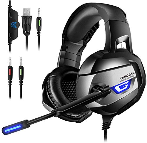 ONIKUMA Casque Gaming, Casque PS4 Xbox One PC Casque Gamer Son 7.1 Surround + Isolation + Fortes...
