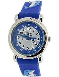 Citron analógico niños tiempo profesor diseño de delfines azul correa de silicona reloj KID04