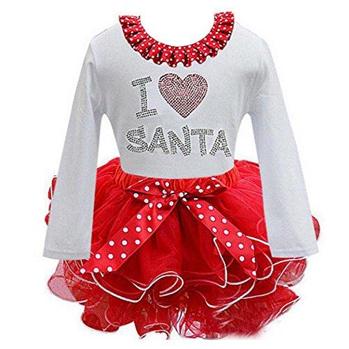 KINDOYO Baby Mädchen Weihnachten Spitze Kleid Kleinkind Prinzessin Fancy Party Kostüm Spielanzug Lange Ärmel / ärmellose Tanz Ballettröckchen Santa New Year Bowknot Kleid (Baby Kostüme Mädchen Kleinkind Garn)