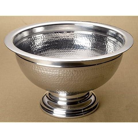 KINDWER Hammered Aluminum Pedestal Punch Bowl, 15-Inch,