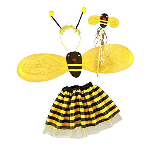 IPOTCH 4er Set Kinder Fee Halloween Kostüm Party Biene Bienenkostüm Karneval Faschingskostüm (Baby Bumble Bee Halloween-kostüm)