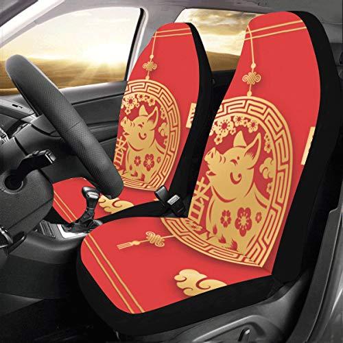 Wietops Red Frohes Jahr Schwein Benutzerdefinierte Universal Fit Auto Autositzbezüge Protector Für Frauen Automobil Jeep LKW SUV Fahrzeug Full Set Zubehör Für Erwachsene Baby (Set Von 2 Front)
