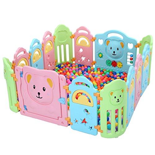 Surreal - Bär Kinder Laufstall Laufgitter aus Kunststoff mit Tür und Spielzeugboard - 14 Paneele - Zaun Baby