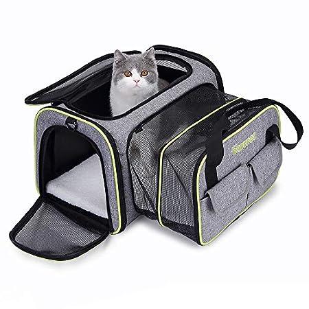DADYPET Transporttasche Katze und Kleine Hunde, Katzentransportbox Katzen Transporttasche & Hundebox für den Transport von Hund & Katze im Auto oder in der Bahn 44.5 * 33 * 28cm (Grau)