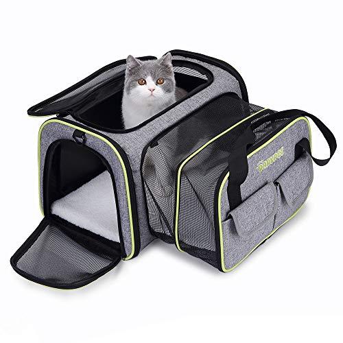 DADYPET Transporttasche Katze und Kleine Hunde, Katzentransportbox Katzen Transporttasche & Hundebox für den Transport von Hund & Katze im Flugzeug, Auto oder in der Bahn 44.5 * 33 * 28cm (Grau) - Katze Transportbox