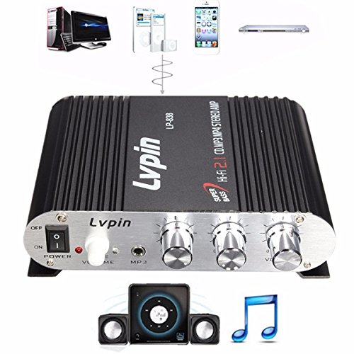 mark8shop Car Home Mini Hi-Fi HiFi Stereo Verstärker Booster Radio MP3 Super Bass 200 W 2.1 CH 12 V (200 Watt Verstärker)
