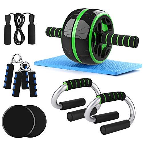 Odoland 6-in-1 AB Roller Bauchtrainer AB Wheel Set inkl. Bauchtrainer, 2 Liegestützgriffe, 2 Slide Pads, 2 Handtrainer, Springseil für Fitness Bauchmuskeltraining Muskelaufbau Bauchroller
