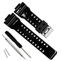 My Time OliBoPo natuurlijke hars vervanging horloge band band band voor Casio Mens G-Shock GD120/GA-100/GA-110/GA-100C (glanzend zwart)