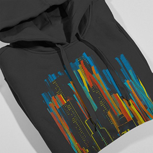 Stripy City Graphic Women's Hooded Sweatshirt Charcoal