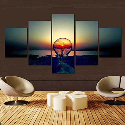 caoyiyi Fünf Leinwand Gemälde Neues Öl Moderne Beleuchtung Malerei Kunst Wand Geschenk Top Home Dekoration-C-Rahmen -
