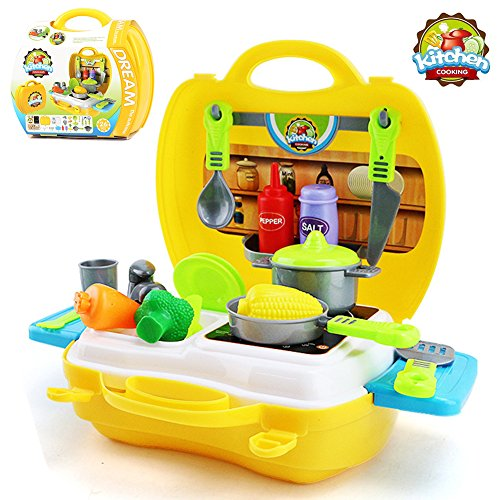 Buyger Plastic Pretend Role Play Food Chef Kitchen Cooking Set Educational Toy Gift Kids for Boys and Girls Suitcase