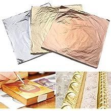 Set di fogli in oro, argento e rame 14 cm x 14 cm per lavori fai da te, 300 fogli