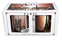 Une superbe boite décorée contenant un mug brun avec la Tour Eiffel et un autre mug avec les 4 principaux monuments parisiens en automne. Un souvenir de Paris à offrir. Taille : Hauteur 10 cm Diamètre 8 cm Poids : 740 g Matière : Céramique Conditionn...