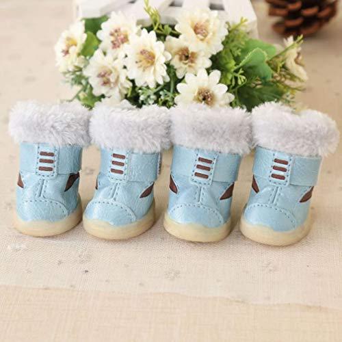 AMURAO Nette Winter-warme Haustier-Schuh-rutschfeste Katzen-Aufladungen mit Pelz-Regen-Schnee-Aufladungen für Hundechihuahua-Teddybären -
