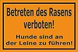 Schild - Betreten des Rasens verboten - Hunde sind an der Leine zu führen – 30x20cm mit Bohrlöchern | stabile 3mm starke Aluminiumverbundplatte – S00216-006-E +++ in 15 Varianten erhältlich
