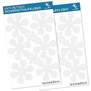 WANDKINGS Anti-Rutsch-Sticker 12 Blumen 10 cm und 4 Blümchen 5 cm Durchmesser für Sicherheit in Badewanne und Dusche