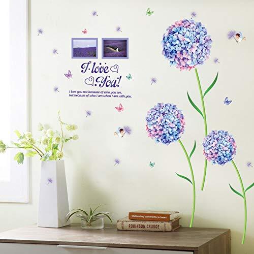 Olivialulu Bleu Trois Hortensia Fleurs Avion Sticker Mural Romantique Papillon Salon Stickers Hall D'entrée Chambre Murale Affiche