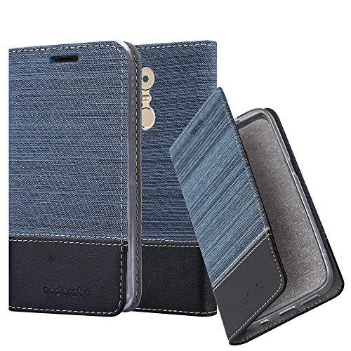 Cadorabo Hülle für Lenovo K6 Note - Hülle in DUNKEL BLAU SCHWARZ – Handyhülle mit Standfunktion und Kartenfach im Stoff Design - Case Cover Schutzhülle Etui Tasche Book