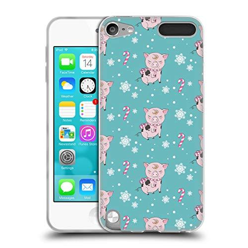 Head Case Designs Offizielle Kristina Kvilis Schwein Kranz 1 Weihnachtstiere 2 Soft Gel Huelle kompatibel mit Apple iPod Touch 5G 5th Gen -