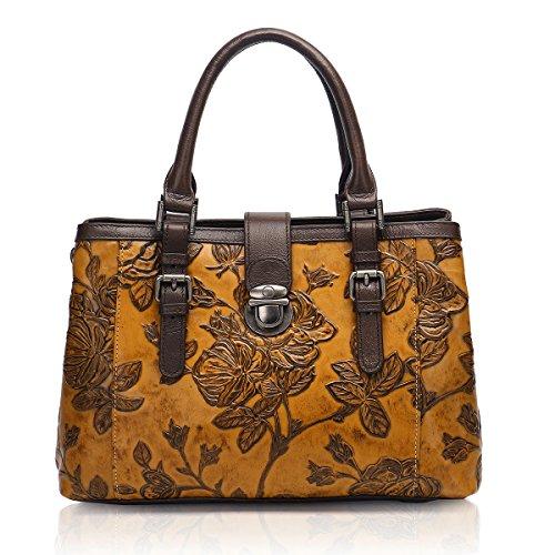 Braun Floral Top (APHISON Damen Designer Einzigartige Embossed Floral Rindsleder Tote Stil Top Griff Taschen Handtaschen Mittel Braun)