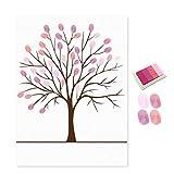 Sukisuki DIY Fingerabdruck Baum Signature Gästebuch mit Tinte Pad Malerei Wand Decor, canvas, rose, Einheitsgröße