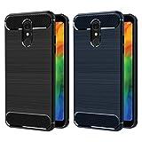 iVoler [2 Stücke] Hülle Kompatibel für LG Q7 / LG Q7+ / LG Q7 Plus, Carbon Faser Case Tasche Schutzhülle mit Stoßdämpfung Soft Flex TPU Silikon Handyhülle - (Schwarz+Blau)