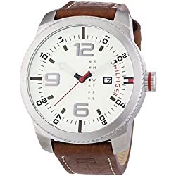 Tommy Hilfiger 1791013 Men's Watch - Analogue Quartz - Beige Dial Brown Leather Strap