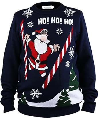 Shineflow Pull jacquard de Noël pour homme Motif Père Noël Ho Avec lumière Ugly Christmas Sweater (S)