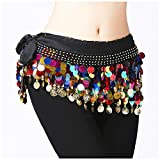 #5: Vritraz Women's Chiffon Belly Dance Hip Scarf Waistband Belt Skirt Mixed Colors Beads Black-56