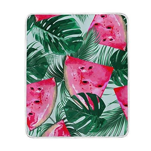 Tropical Wassermelonen und Palmblättern Übergroße Überwurf Decken für Polyester-Couch Sofa-König Queen Size Betten Home Decor Zimmer Betten Steppdecke für Sofa, Polyester, multi, 50x60