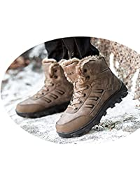 shoes Botas de Nieve, Calidez Masculina de Invierno Más Terciopelo, Zapatos de Algodón de Gran Tamaño, Botas Cortas de Algodón para Exteriores de Gran Ayuda, Antideslizantes, Impermeables,marrón,48