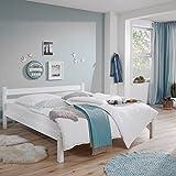 Lomado Einzelbett massiv weiß lackiert ● Liegefläche 90x200cm ● Jugendbett Gästebett Einzelbett