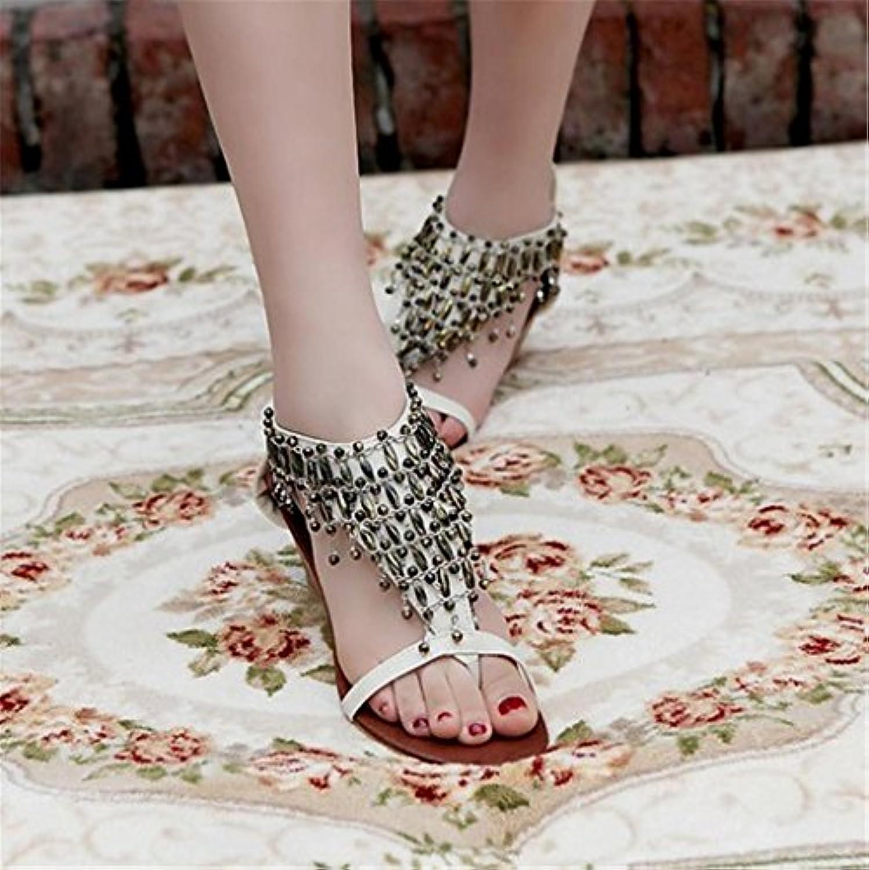 LYSLOLI - Zapatos de Mujer para el Verano (Parte Inferior Plana, Correas de Estudiante Salvajes, Sandalias Romanas... -