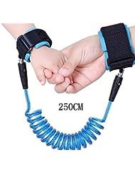 LAAT Toddlers Sécurité pour Bébés Anti-Lost Wrist Link Sécurité pour Enfants Harnais Ceinture / Sangle - Orange et Bleu - 150CM et 250CM