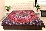 Sarjana Bettdecke, Decke, aus Baumwolle, mit Mandala, psychedelisches Motiv, 223 x 213 cm, baumwolle, rose, approx. 88 Inches (223 cm) x 84 Inches (213 cm)
