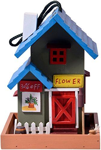 dobar 25108FSC Buntes Deko Vogelhaus Western zum Aufhängen aus Holz, Futterhaus Flower Shop, bunt - 2